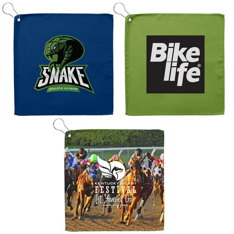 12x12 Sublimated Golf Towel w/Grommet - 200 GSM