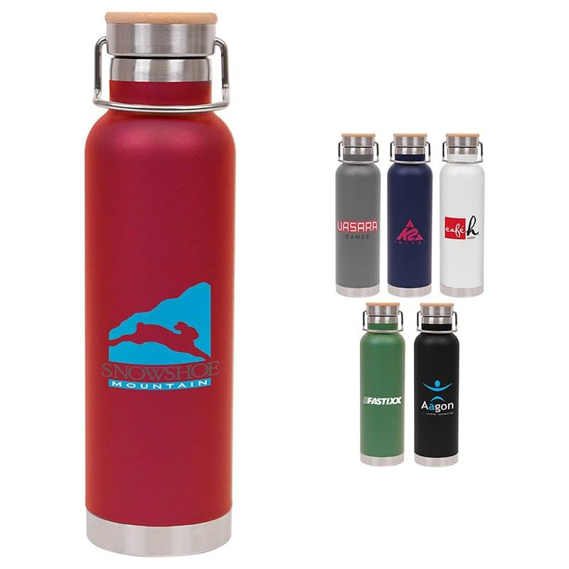 22 oz Double Wall Stainless Steel Vacuum Bottle w/Bamboo Lid
