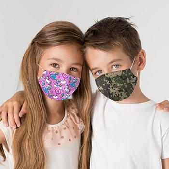 Reusable 2 Ply Child Face Mask With Pocket For Filter, Full Graphic Dye-Sub Print ( For Kids Ages 5-8 )