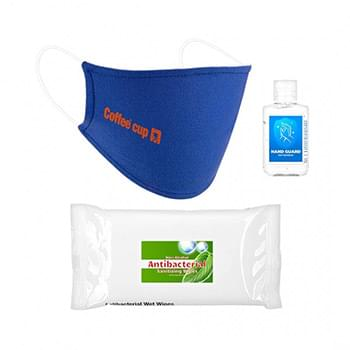 Standard PPE Combo Includes A Cotton Face Mask, 2 oz Hand Sanitizer and 10 Pack Of Sanitizer Wipes