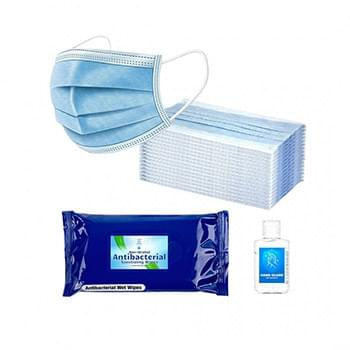 Essential PPE Combo Includes 10 Disposable Face Masks, 2 oz Hand Sanitizer and 10 Pack Of Sanitizer Wipes