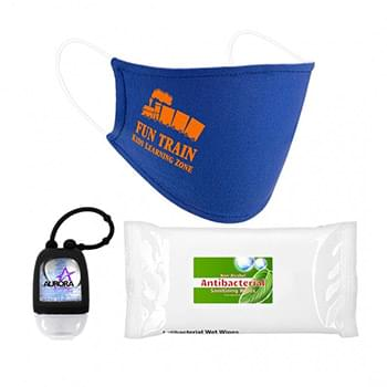 Essential Child PPE Combo Includes A Cotton Face Mask, 1 oz Hand Sanitizer and 10 Pack Of Sanitizer Wipes