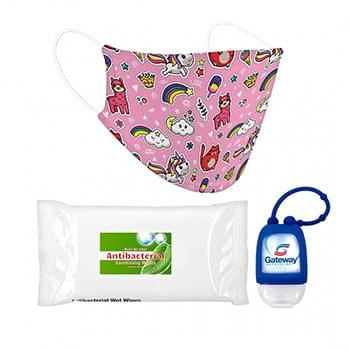 Essential Child PPE Combo Includes A Graphic Dye-Sub Face Mask, 1 oz Hand Sanitizer and 10 Pack Of Sanitizer Wipes