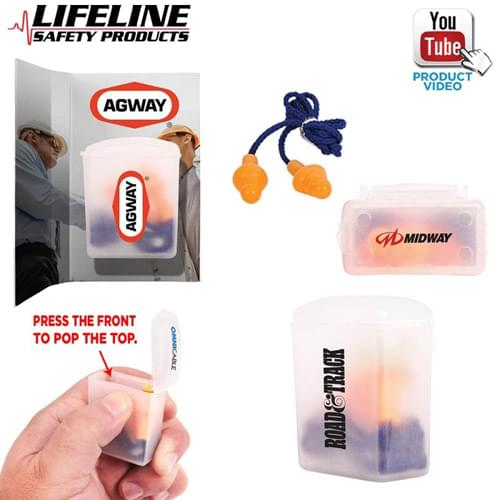 Silicone Earplugs With Blue Nylon Cord and Clear Clip Case
