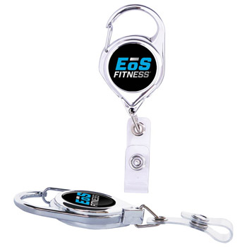 Premium Chrome Carabiner Retractable Badge Holder