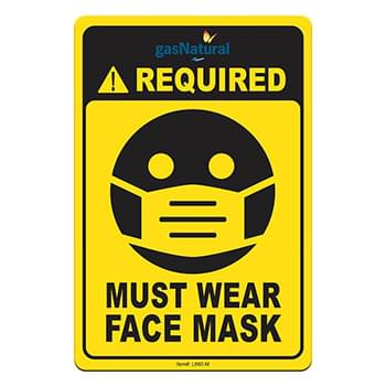 "Face Mask Required COVID-19 Coronavirus Prevention Custom Utility Sign 4""x6"" Hard 60 Mil Styrene Card"