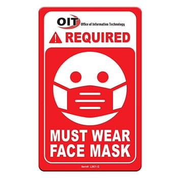 "Face Mask Required COVID-19 Coronavirus Prevention Custom Warning Sign 2.5""x4"" Hard 60 Mil Styrene Card"