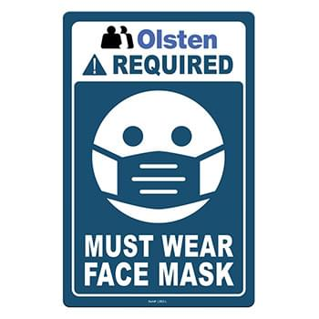 "Face Mask Required COVID-19 Coronavirus Prevention Custom Office Sign 5.5""x8.5"" Hard 60 Mil Styrene Card"