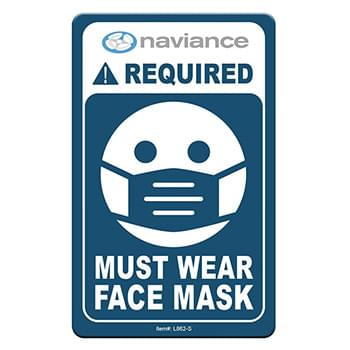 "Face Mask Required COVID-19 Coronavirus Prevention Custom Office Sign 2.5""x4"" Hard 60 Mil Styrene Card"